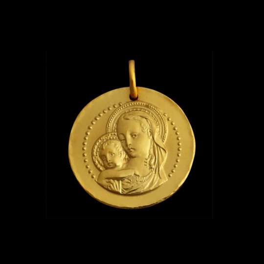 Baptism medal virgin mary